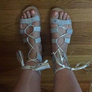 Sole Society Tassel Gladiator Sandal Size 8